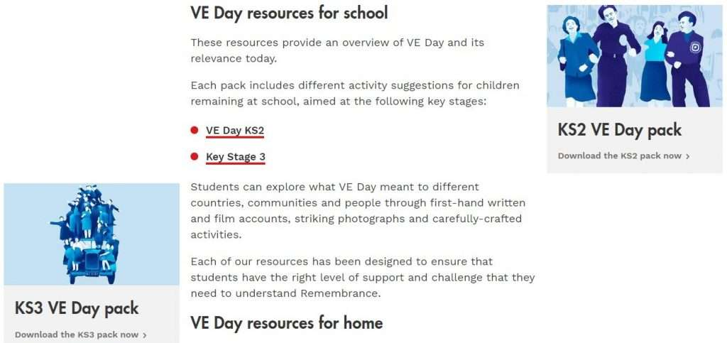 VE Day resources on The Royal British Legion's website