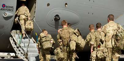 Personnel head back to the UK from an overseas deployment on a RAF C17 transporter aircraft (taken in 2014)