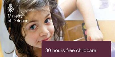 Snapshot of the MOD's poster for promoting 30 hours free childcare