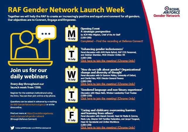 RAF Gender Network Launch Week poster