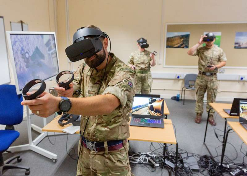 A RAF Regiment Instructor trialing SimCentric's SAF-TAC Virtual Reality software at the RAF Regiment Training wing at RAF Honington on the 3rd August 2020.