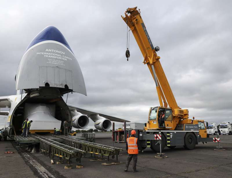 A giant Antonov AN-124 cargo aircraft touched down at Glasgow Prestwick Airport on Monday (17/08/2020) to make an oversized delivery of a new Operational Flight Trainer (OFT) heading to RAF Lossiemouth.