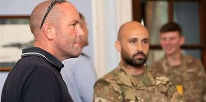 Darren Ruck (left) during his visit to RAF Honington