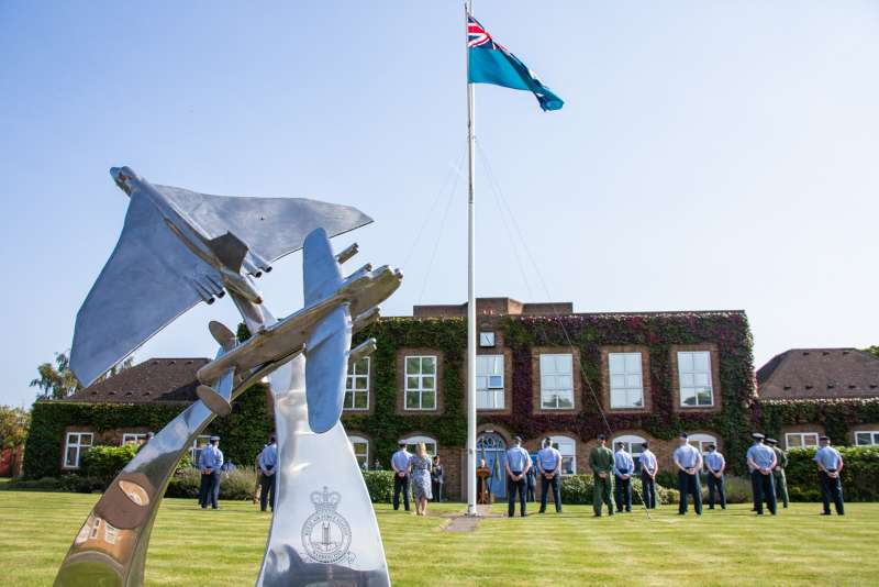 Image shows the Battle of Britain Service and the Spitfire flypast which took place outside Station Head Quarters at RAF Waddington on the 15th September. Chief of the Air Staff (CAS), Air Chief Marshal Wigston, attended alongside Station Commander Kilvington.