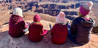 The Mills family at Canyonlands National Park