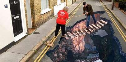 Chasm pavement art