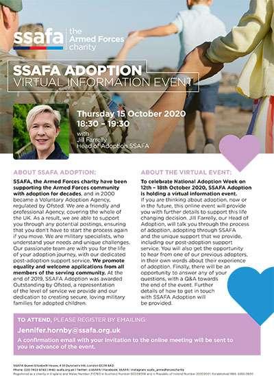 SSAFA Adoption virtual information event poster